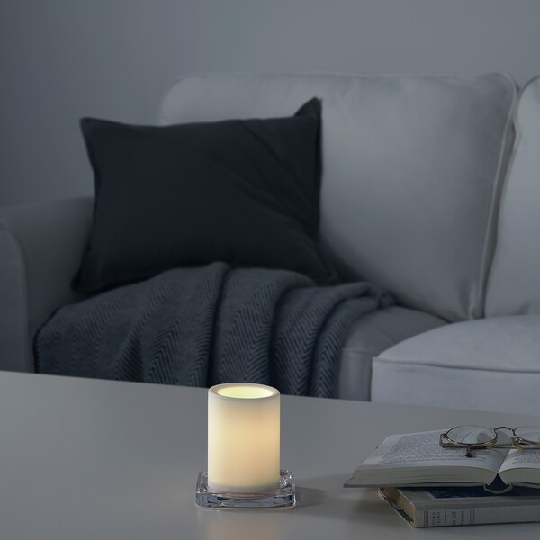 MOGNAD Espelma gran LED, a piles/blanc, 10 cm