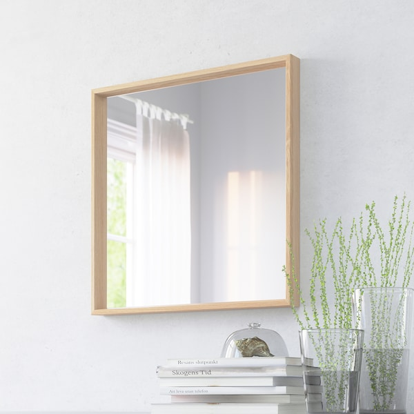 NISSEDAL Mirall, efecte roure tenyit blanc, 65x65 cm