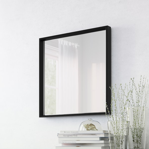 NISSEDAL Mirall, Negre, 65x65 cm