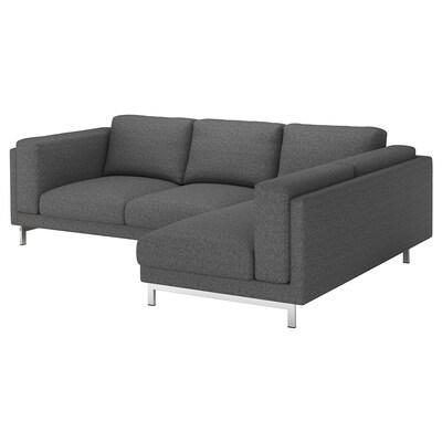 NOCKEBY Sofà de 3 places, amb chaise longue dreta/Lejde gris fosc/cromat