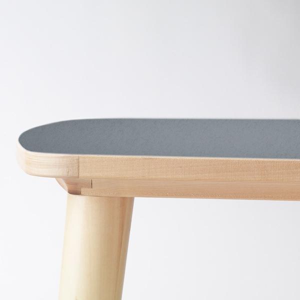 OMTÄNKSAM Taula auxiliar, antracita/bedoll, 55x55 cm