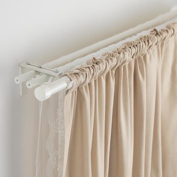 RÄCKA / HUGAD Comb barra cortina triple, blanc, 210-385 cm