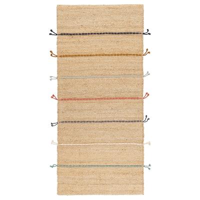 RAKLEV Catifa, llisa, fet a mà natural/multicolor, 70x160 cm