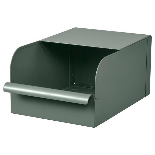 REJSA Caixa, verd grisenc/metall, 17.5x25.0x12.5 cm