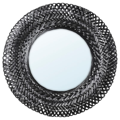 RISBYGD Mirall, bambú/Negre, 50 cm