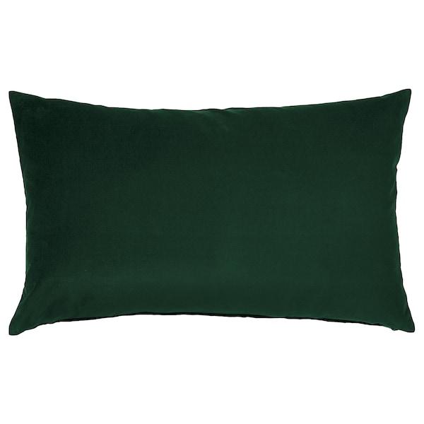 SANELA Funda de coixí, verd fosc, 40x65 cm