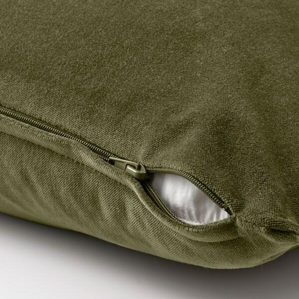 SANELA Funda de coixí, verd oliva, 40x65 cm