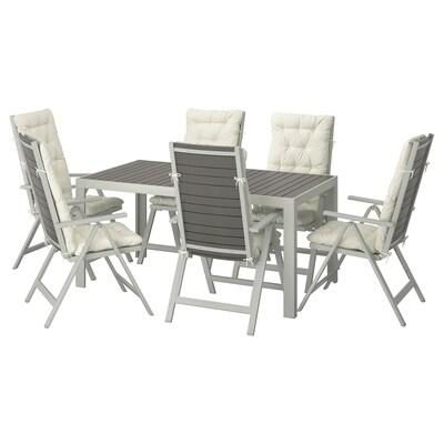 SJÄLLAND Taula+6 cadires inclinables ext, gris fosc/Kuddarna beix, 156x90 cm