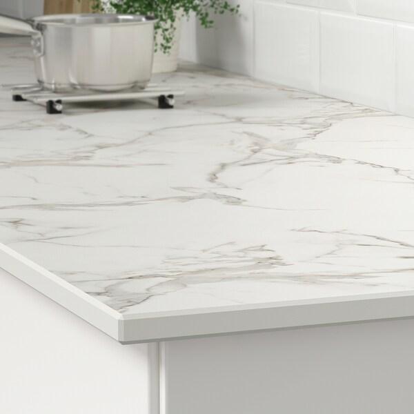 SKARARP Taulell a mida, blanc mat/efecte marbre ceràmica, 1 m²x2.0 cm