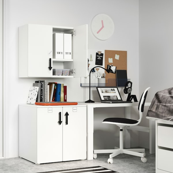 SMÅSTAD Armari de paret, blanc gris/amb 1 prestatge, 60x32x60 cm
