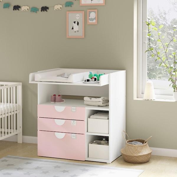 SMÅSTAD Canviador, blanc rosa clar/amb 3 calaixos, 90x79x100 cm