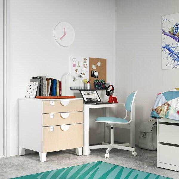 SMÅSTAD / PLATSA Calaixera de 3 calaixos, blanc/bedoll, 60x57x63 cm