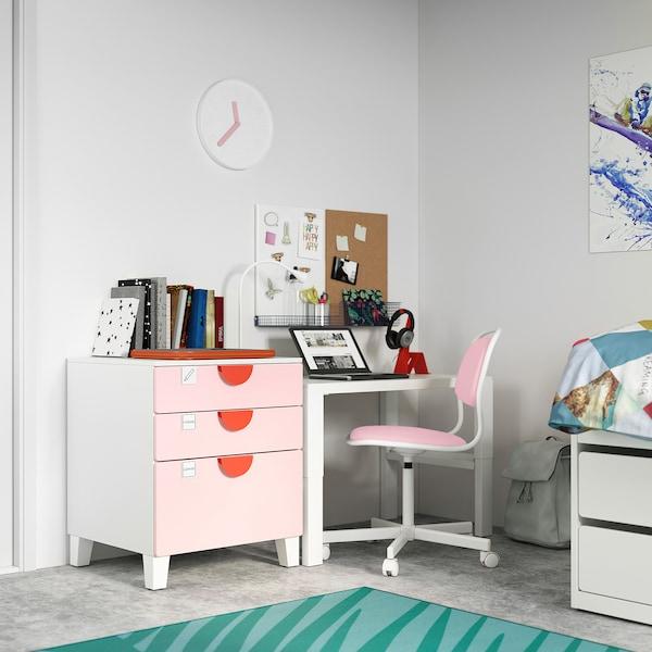 SMÅSTAD / PLATSA Calaixera de 3 calaixos, blanc/rosa clar, 60x55x63 cm