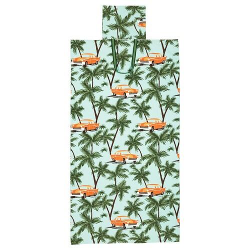 SOLBLEKT tovallola de platja amb bossa motius cotxes/palmeres blau 180 cm 100 cm