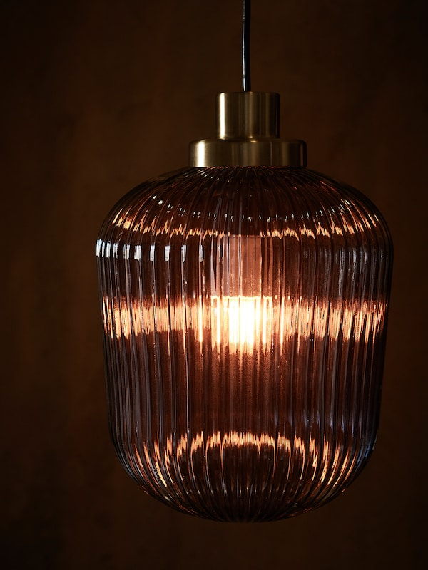 SOLKLINT Llum de sostre, llautó/vidre transparent gris, 22 cm