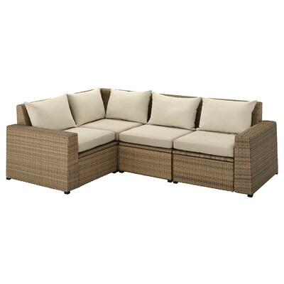 SOLLERÖN Sofà modular, 3 places, exterior, marró/Hållö beix