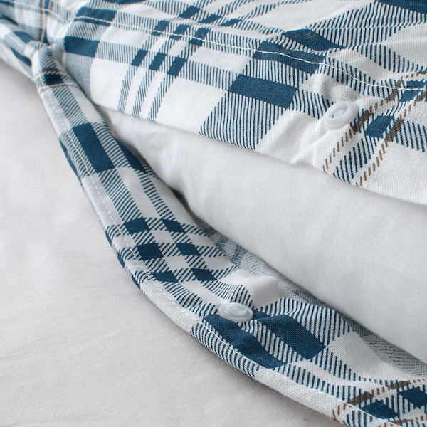 SPIKVALLMO Funda nòrdica i 2 fundes de coixí, blanc blau/a quadres, 240x220/50x60 cm