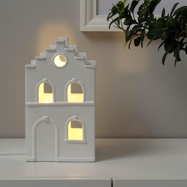 STRÅLA Decoració taula LED, casa blanc