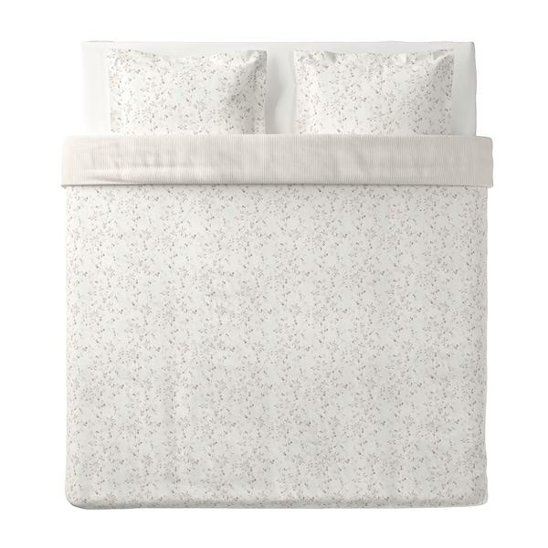 STRANDFRÄNE Funda nòrdica i 2 fundes de coixí, blanc/beix clar, 240x220/50x60 cm