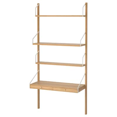 SVALNÄS Combi espai de treball de paret, bambú, 86x35x176 cm