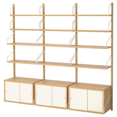SVALNÄS Combinació mòdul emmagatz. paret, bambú/blanc, 193x35x176 cm