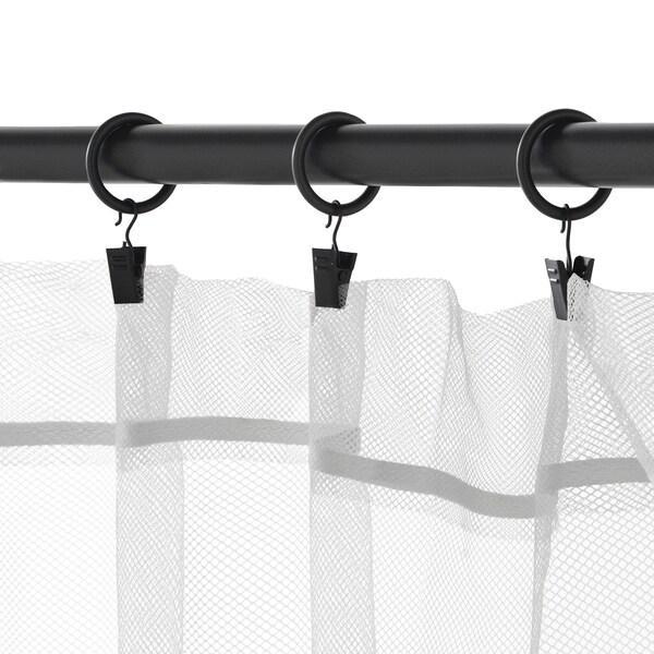 SYRLIG Anella per a cortina+clip/ganxo, Negre, 25 mm