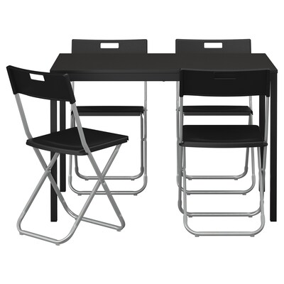 TÄRENDÖ / GUNDE Taula i 4 cadires, Negre, 110 cm