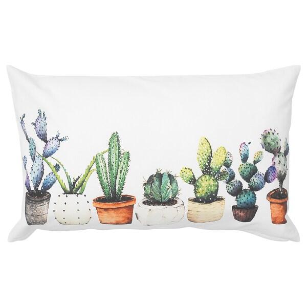 TIBASTMAL Funda de coixí, blanc/cactus, 65x40 cm