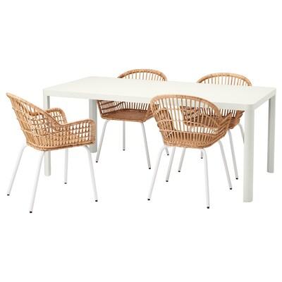 TINGBY / NILSOVE Taula i 4 cadires, blanc/rotang blanc, 180x90 cm