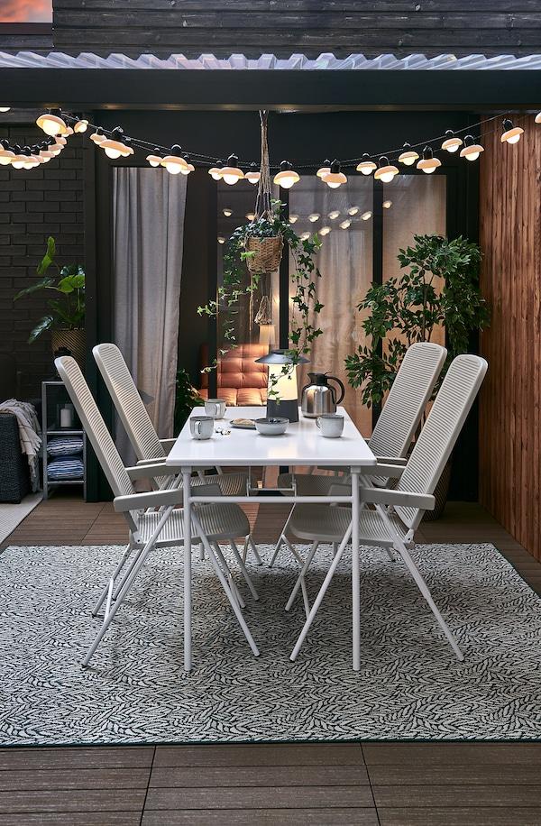 TORPARÖ Taula+4 cad reclinables exterior, blanc/beix, 130 cm