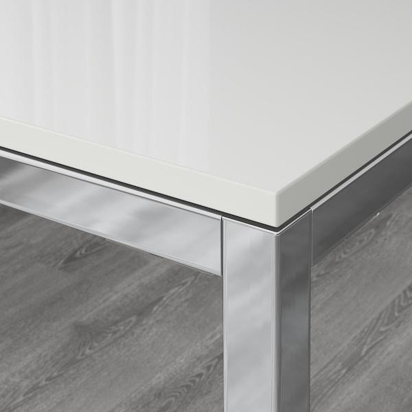 TORSBY / LEIFARNE Taula i 4 cadires, alta lluentor blanc/blanc, 135 cm