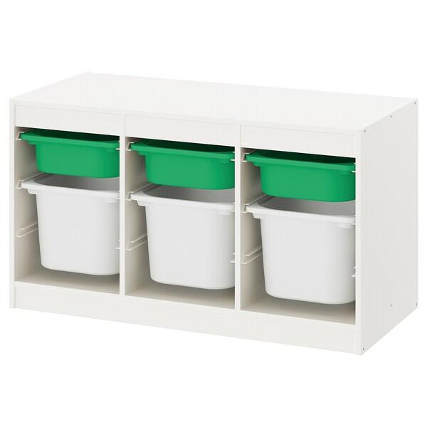 TROFAST Emmagatzematge amb caixes, blanc verd/blanc, 99x44x56 cm