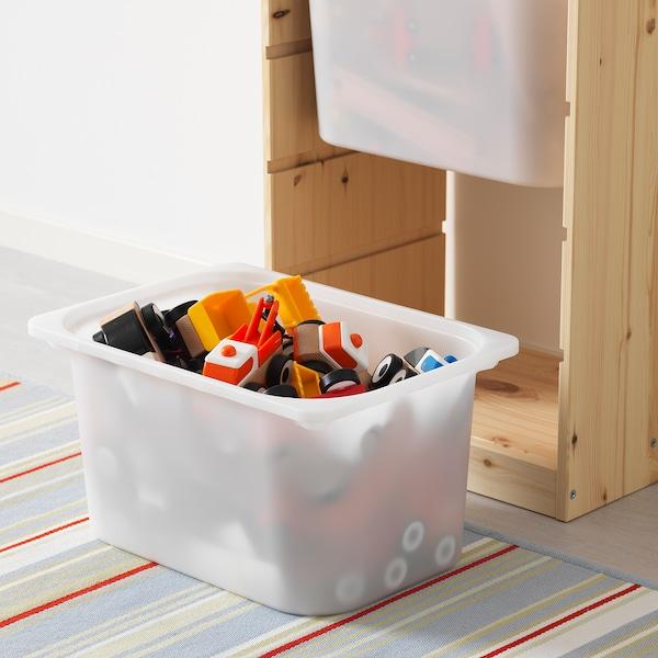 TROFAST Emmagatzematge amb caixes, pi tint clar blanc/turquesa, 44x30x91 cm