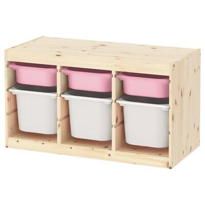 TROFAST Emmagatzematge amb caixes, pi tint clar rosa/blanc, 94x44x52 cm