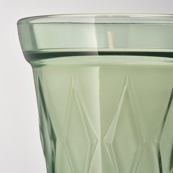 VÄLDOFT Espelma perfumada en got, rosada del matí/verd clar, 8 cm