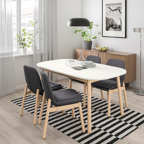 VEDBO / VEDBO Taula i 4 cadires, blanc/bedoll, 160x95 cm