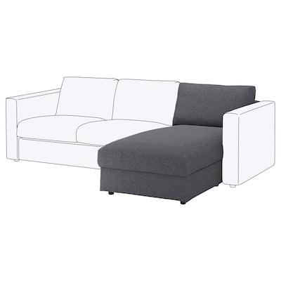VIMLE Chaise longue, Gunnared gris sòlid