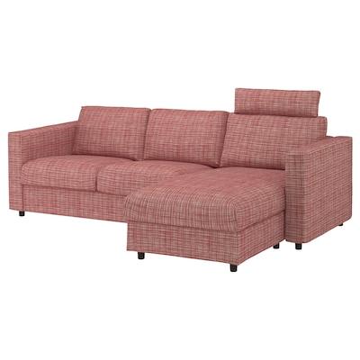 VIMLE Sofà de 3 places, amb chaise longue amb reposacaps/Dalstorp multicolor