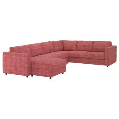 VIMLE Sofà raconer 5 seients, amb chaise longue/Dalstorp multicolor