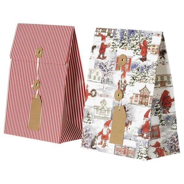 VINTER 2020 Bossa per regal, motiu Pare Noel/motiu de ratlles vermell, 20x26 cm/2.5 l