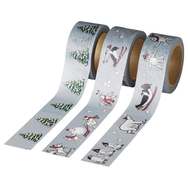 VINTER 2020 Rotlle cinta adhesiva, motiu d'animals gris, 5 m