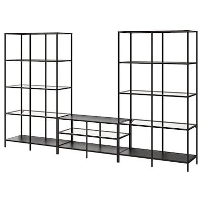 VITTSJÖ Combinació de moble de TV, negre-marró/vidre, 300x36x175 cm