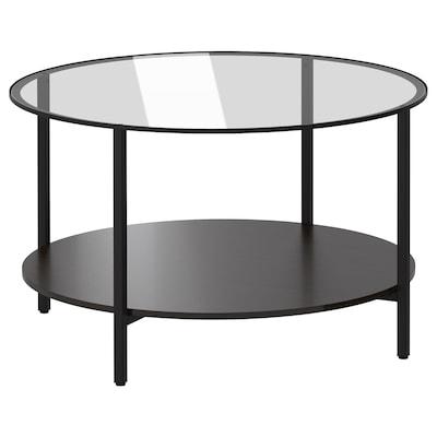 VITTSJÖ Tauleta de centre, negre-marró/vidre, 75 cm