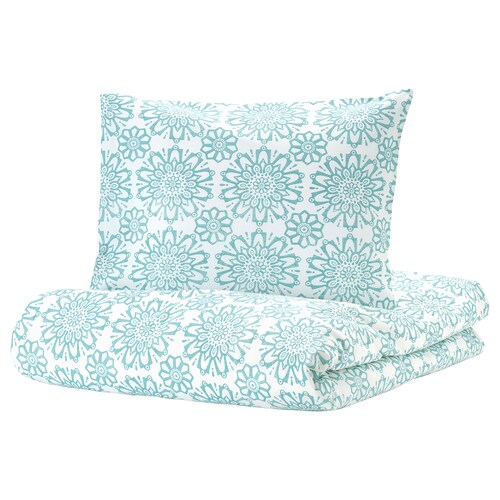 ÄNGSSALVIA quilt cover and 2 pillowcases white/turquoise 104 /inch² 2 pack 220 cm 240 cm 50 cm 60 cm