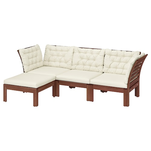 ÄPPLARÖ 3-seat modular sofa, outdoor with footstool brown stained/Kuddarna beige 80 cm 80 cm 223 cm 143 cm 57 cm 36 cm