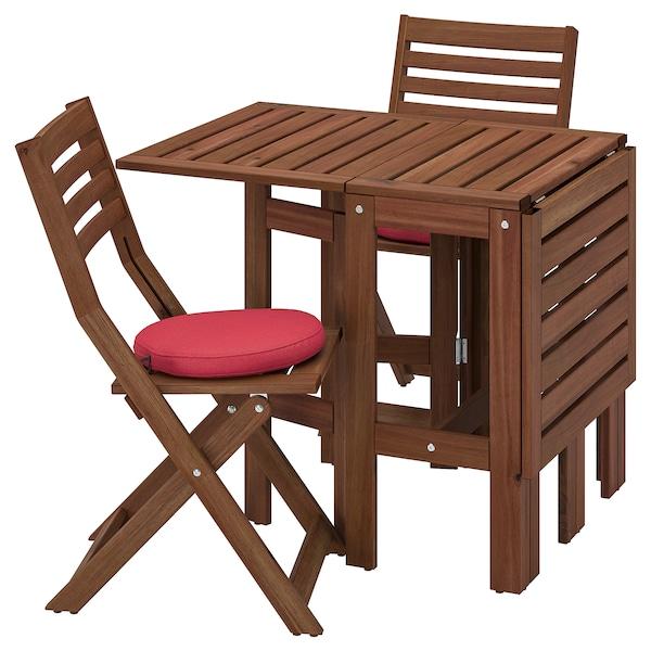 ÄPPLARÖ table+2 folding chairs, outdoor brown stained/Frösön/Duvholmen red