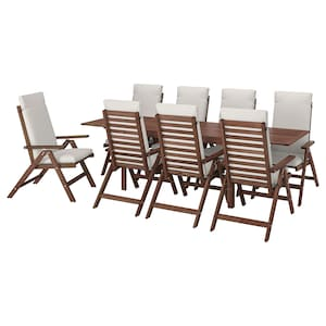 ÄPPLARÖ Table+8 reclining chairs, outdoor brown stained, FrösönDuvholmen beige
