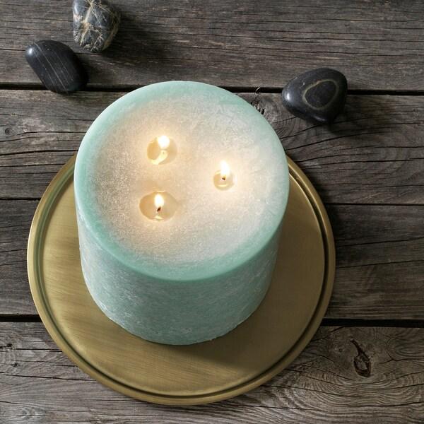 ANBRINGA unscented block candle, 3 wicks green 14 cm 14 cm 50 hr