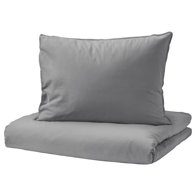 ÄNGSLILJA Duvet cover and 2 pillowcases, grey, 240x220/50x60 cm