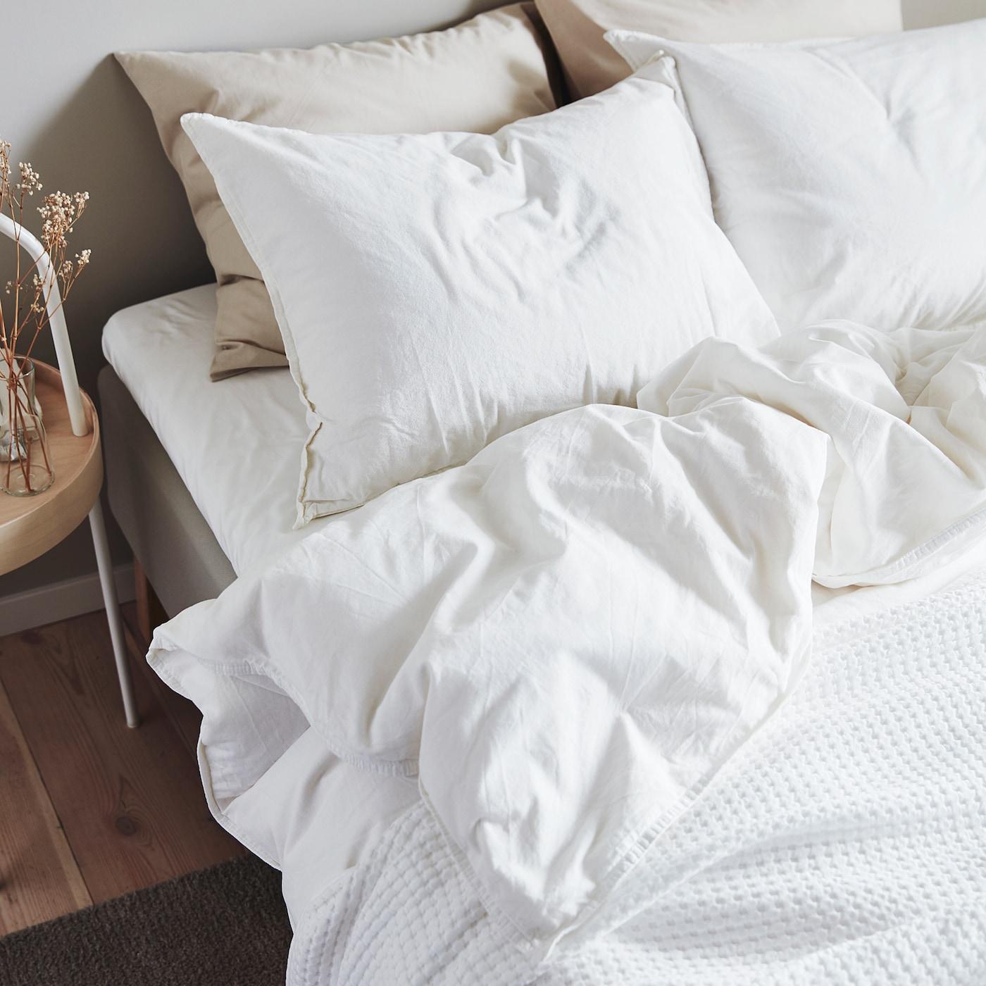 angslilja duvet cover and 2 pillowcases white 260x220 50x60 cm